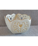 Lenox Heart cutout Bowl Candy Dish gold trimmed - $9.95