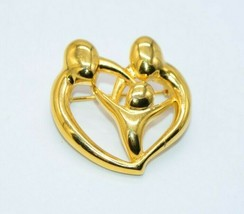 Danecraft Brooch Pin Heart Shape Arms Encircling Child in the Center Gold Tone - $13.86