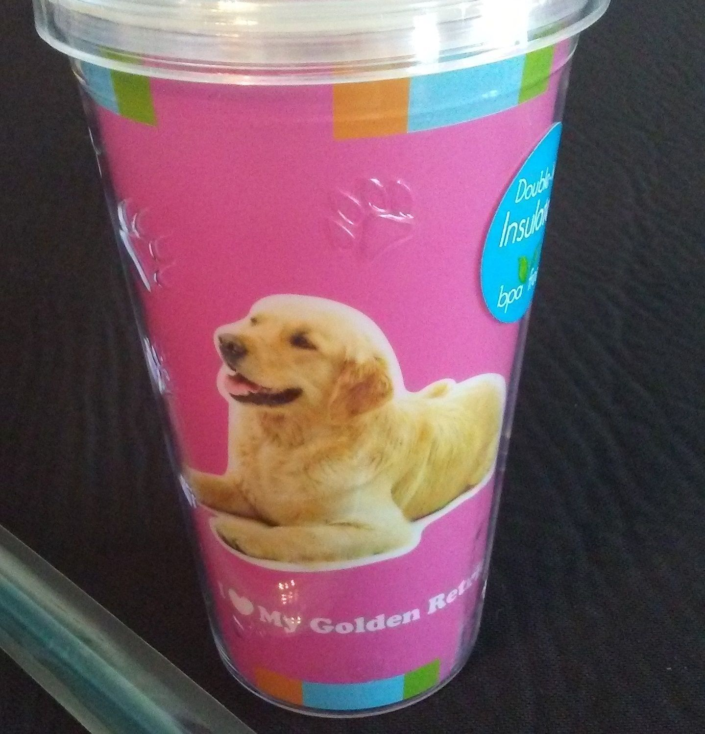 DOG LOVERS CUP Golden Retriever Double Wall Insulated w/ Straw Pink Plastic NEW