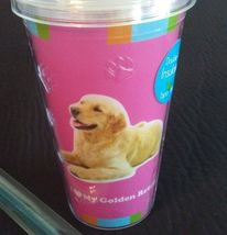 DOG LOVERS CUP Golden Retriever Double Wall Insulated w/ Straw Pink Plastic NEW image 2