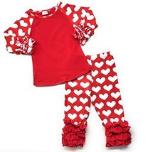 Cute Kids Clothing Toddler Girl Heart Outfit Blank T-Shirt Valentine's D... - $19.99