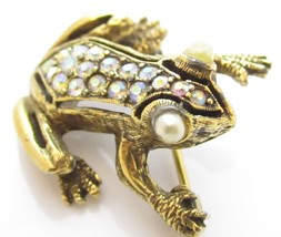 Adorable Vintage Gold Plated Rhinestone Faux Pearl Frog Brooch Pin*Anima... - $17.81