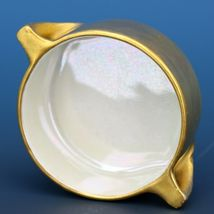 Vintage Open Salt Dip Cellar Made in Japan Heavy Gold Pearlized Interior image 3