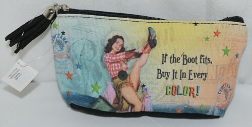 GANZ Brand If The Boot Fits Vintage Cowgirl Print Makeup Bag