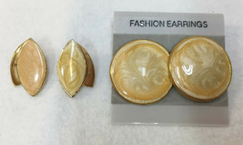 Stud Earrings Enamel Swirl Cream Peach Color Gold Tone Metal 2 Pairs Vin... - $10.88