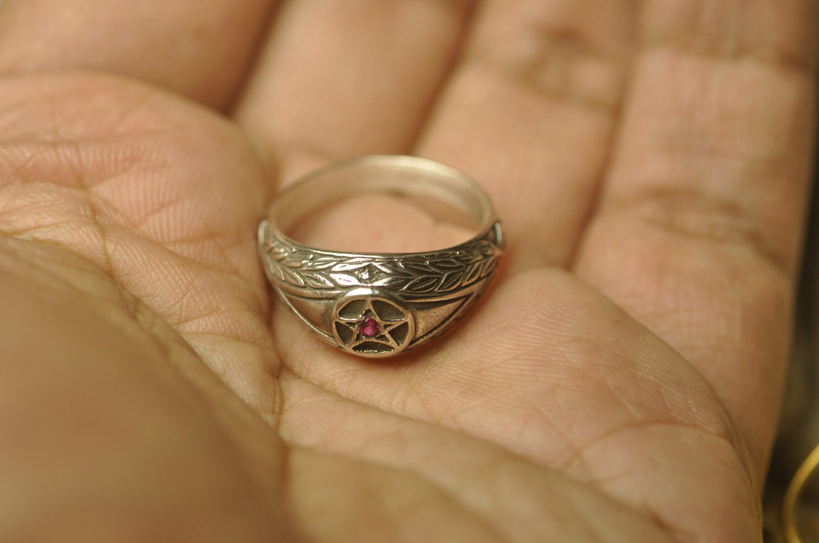 Celtic Absorb Evil Eye & convert to positive ring Pentagram 925 Sterling Silver