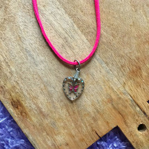 Pink Suede Choker, Heart pendant choker, Butterfly Heart, Hot Pink Strap... - $9.99
