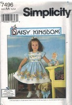 7496 UNCUT Simplicity Sewing Pattern Girls Daisy Kingdom Dress + Doll Ro... - $9.99