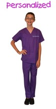 Personalized Purple Kids Scrubs for little Doctors, Nurses, and Veterina... - $25.98