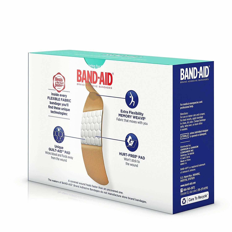Band-Aid Brand Flexible Fabric Adhesive Bandages 100 Count New Johnson & Johnson