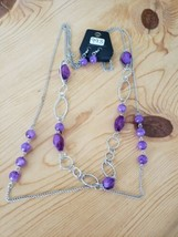 993 Silver W/ Purple Beads Necklace Set (New) - $7.61