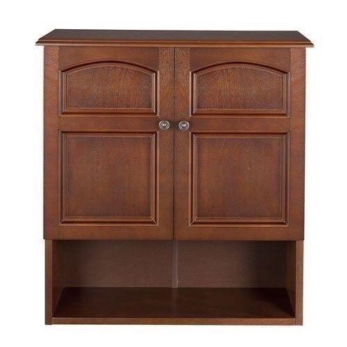 Brown Wooden Medicine Cabinet Organizer Storage Shelf Doors Bathroom Wall Mount