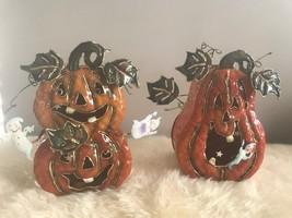 Metal Halloween Pumpkin Jack Light O Lantern Fall Decor Pumpkins set of 2 - $28.05