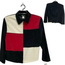 Femme Briggs New York Veste Blazer Faux Daim Couleur Bloc Rouge/Blanc / ... - $37.31