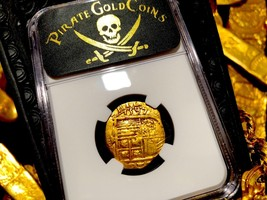 Spain 2 Escudos Fully Dated 1597 Ngc 50 Pirate Gold Treasure Shipwreck Coin Cob - $3,295.00