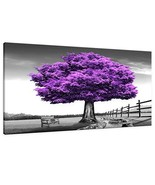 HUADAOART Wall Art for Living Room Landscape Purple Tree Canvas Wall Dec... - $89.98