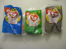 McDonalds Ty Beanie Baby 7 8 10 Mel Scoop Zip Happy Meal Toys New Unopen... - $17.91