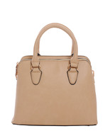 Classic Solid Color Top Handle Handbag Purse w/ Shoulder Strap Light Taupe - $43.55