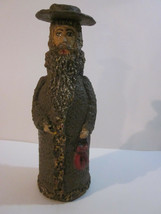 VINTAGE HAND MADE AMATEUR ART SCULPTURE BOTTLE FIGURINE RABBI MAN FIGURE - $9.99