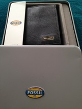 fossil trifold wallet black genuine leather with window image 11