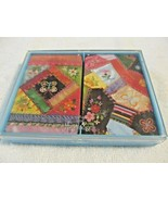 Vintage Hallmark Patchwork Quilt Plastic Coated Playing Cards 2 Decks in... - $14.35