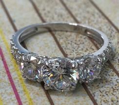 2.5Ct Created Diamond 14K White Or Yellow Gold Three Stone Engagement Ring - $228.20