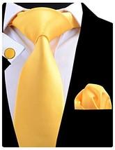 GUSLESON Wedding Tie Silk Yellow Necktie and Pocket Square Cufflinks Set For Men