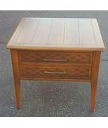 MID-CENTURY Wood Veneer End Table - WITH DRAWER - GDC - BASKET WEAVE PAT... - $89.09