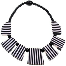 Fashion jewellery beautiful black and white striped beaded choker necklace  - $33.74