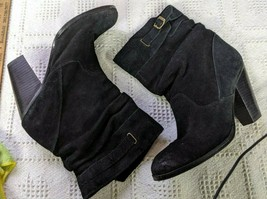 Zodiac Black Suede Slouch boot with stacked heel - Size 8M - $19.69
