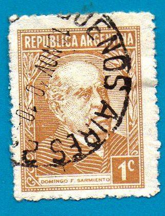 Used Argentina Postage Stamp 1935 1cent Domingo Sarmiento Scott Cat 419