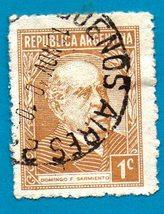 Used Argentina Postage Stamp (1935) 1cent Domingo Sarmiento Scott Cat# 419 - $2.99