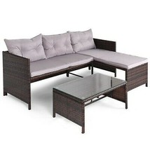 Rattan Couch 3-Piece Patio Furniture Set Water Resistant Fabric Seat Cus... - $320.70
