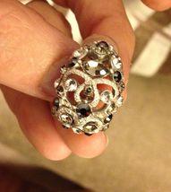 VTG Silvertone Filigree *Smoke/Black/Clear Rhinestones Cluster Pierced Earrings image 6