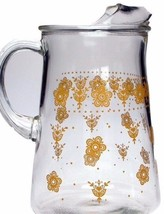 Butterfly Gold Pyrex Pattern Water Pitcher w Ice Lip - $46.74