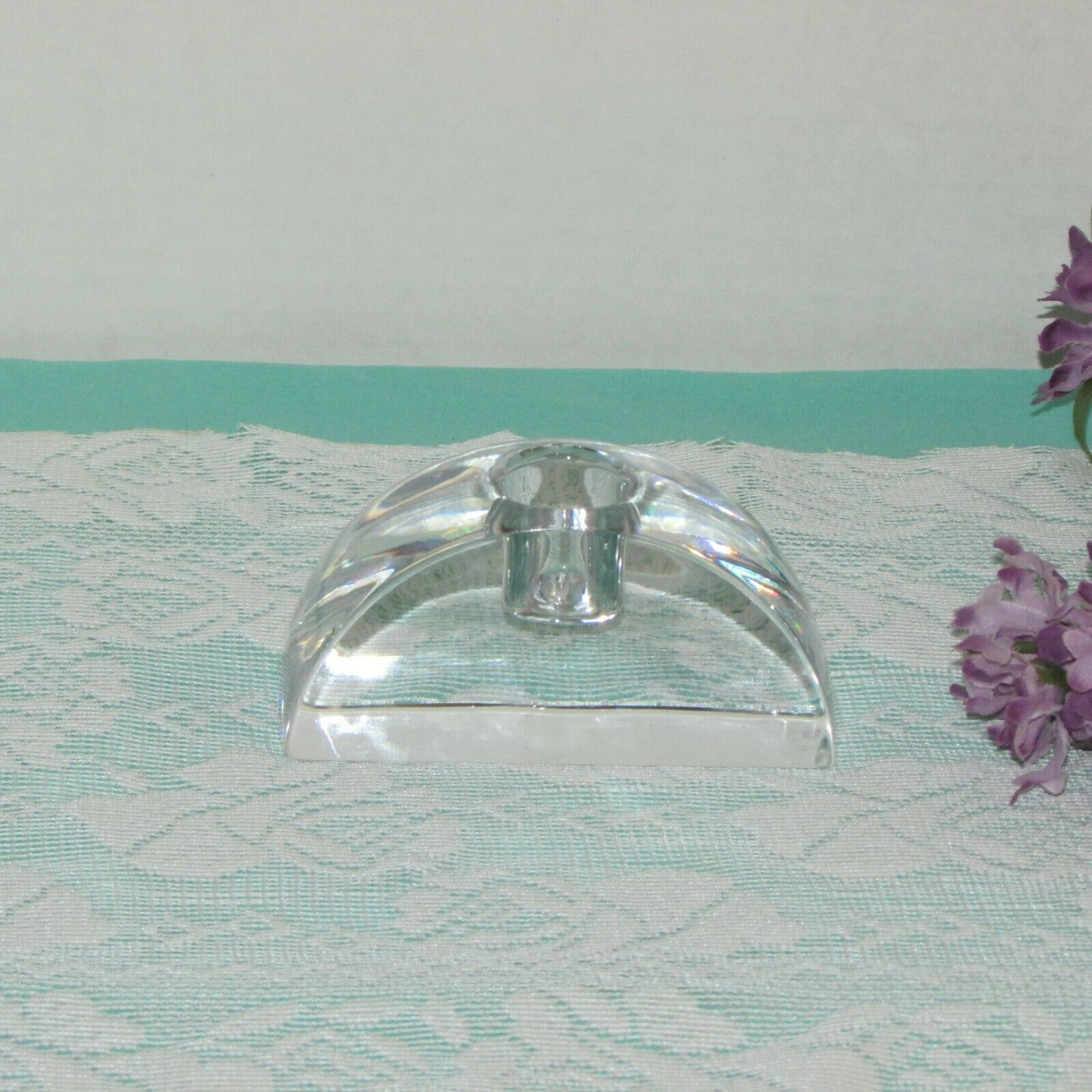 MIKASA CRYSTAL CANDLE HOLDER SIGNATURE ARCHED TAPER SINGLE HEAVY SIGNED