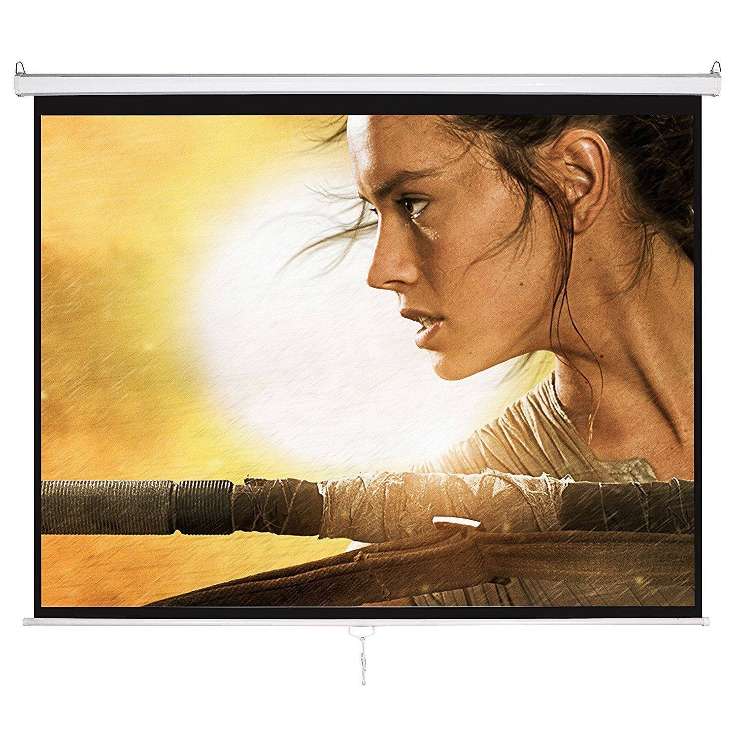 120 Inch HD 4:3 Manual Projection Pull Down Projector Screen Home with Auto Lock