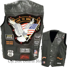LED Light Motorcycle Safety Mens Black Leather Vest Waistcoat with 14 Pa... - $23.99