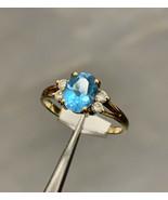 18k Topaz Diamond Ring Yellow Gold BHS Size N - $516.91