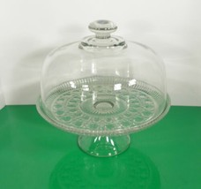 Federal Glass Cake Stand WINDSOR Button Cane Plate with Glass Dome Cover - $59.35