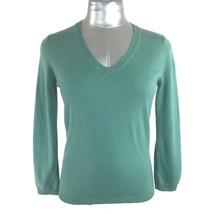 BCBG Max Azria Med Silk Cashmere Sweater Top Blue Green 3/4 Sl V Neck Wo... - $12.95