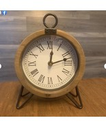 Wood & Metal Table Clock - $74.99