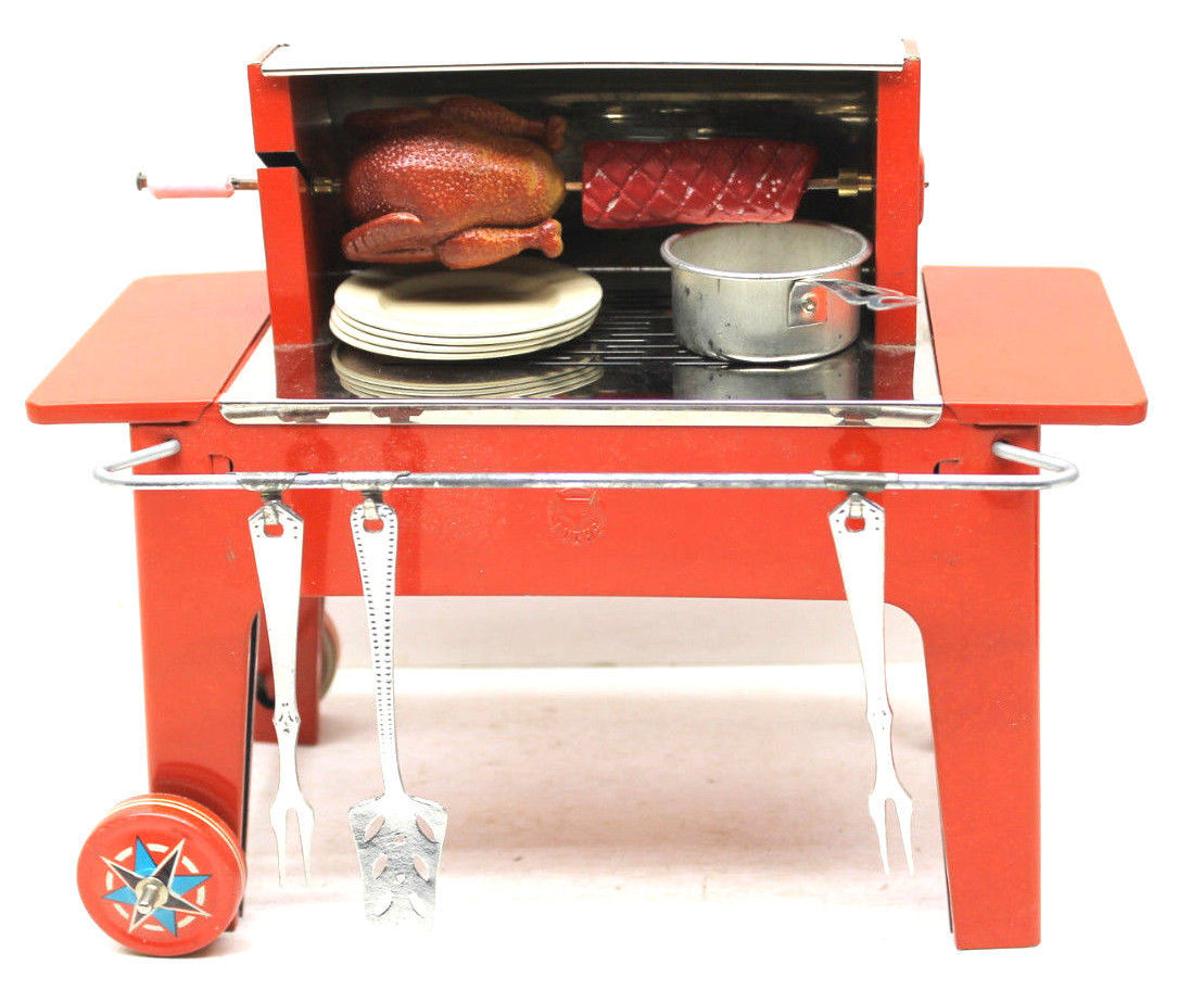 Primary image for Very Rare 1950s Fuchs Mfz. Tin Litho Backyard Grill Toy+Utensils+Turkey+Roast!!!