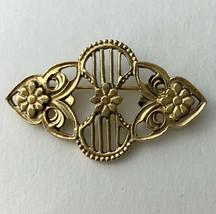 1928 Art Nouveau Style Bar Brooch Pin Vintage Gold Tone Open Work Floral... - $19.75