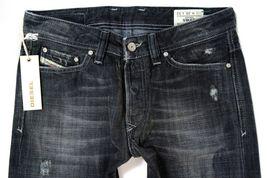 New Diesel Men's Designer Denim Straight Leg Black Distressed Jeans Viker 008UP image 4