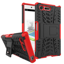 Armor Dual Layer Kickstand Protective Case for Sony Xperia X Compact - Red  - $4.99