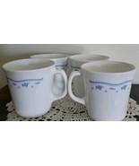 Set of Four (4) Morning Blue Mugs ~ Corning USA ~ White with Blue Flower... - $16.50