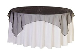 Your Chair Covers - 90 Inch Square Organza Table Overlay Black, Lightwei... - $10.42