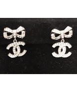 100% AUTH CHANEL 2018 Spring CC Crystal Bow Dangle Drop Earrings LIMITED... - $439.99