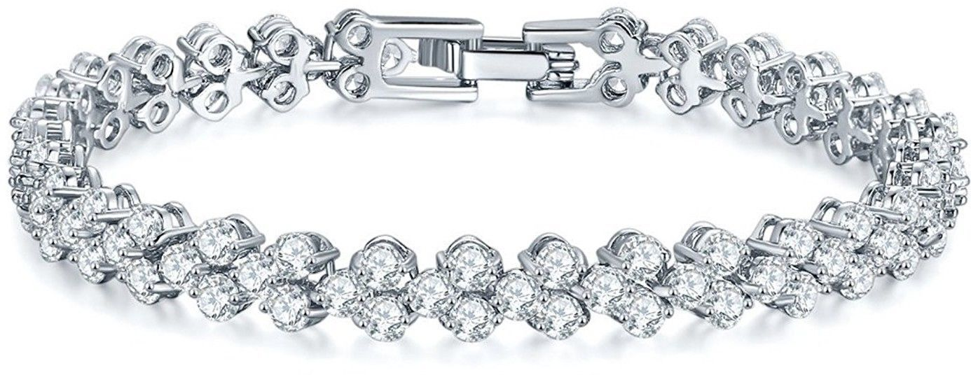 SILYHEART White Gold Plated Cubic Zirconia Tennis Bracelet, Fashion Jewelry for